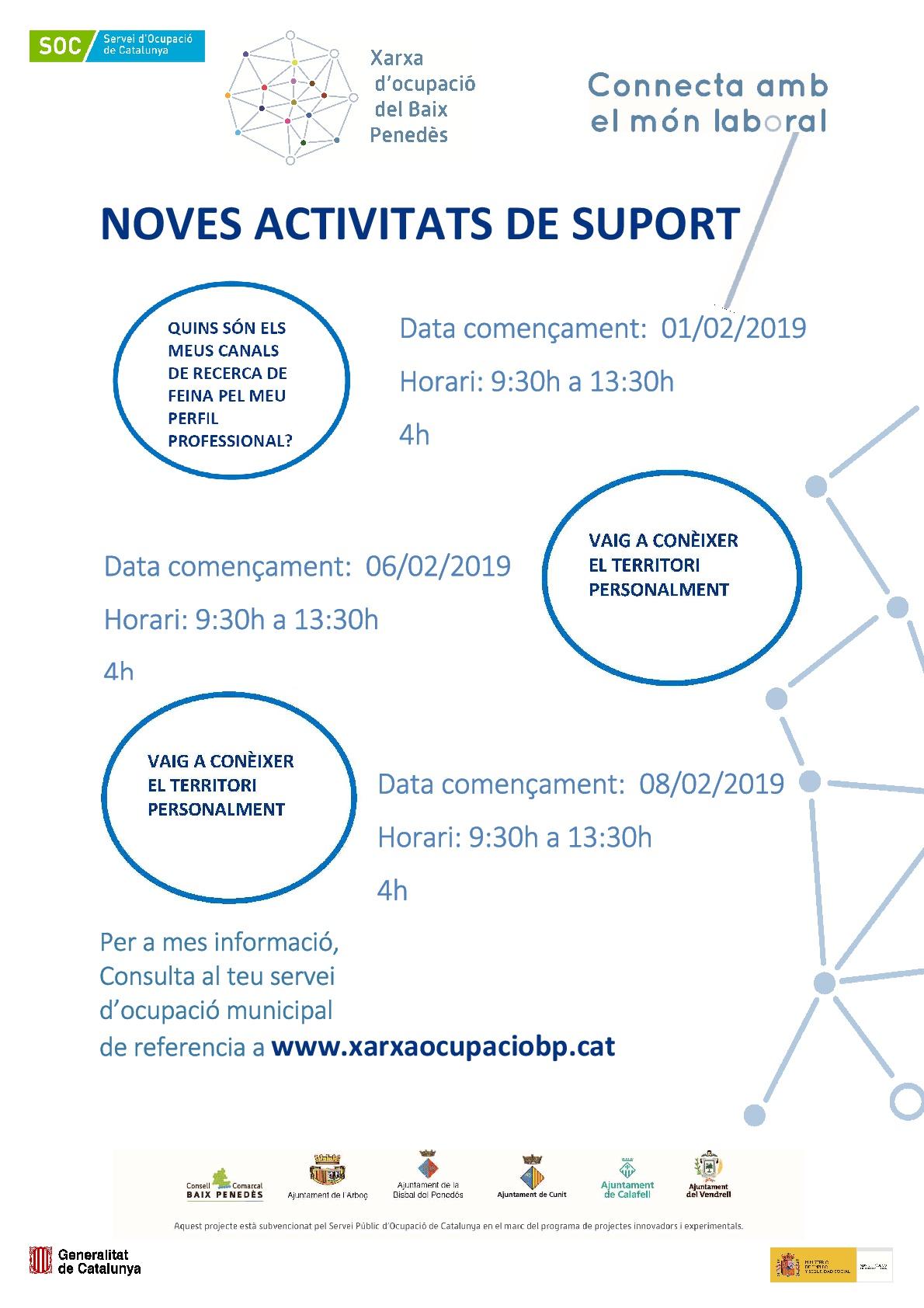 Nova oferta d'activitats de suport per a la recerca de feina de la Xarxa d'ocupació del Baix Penedès