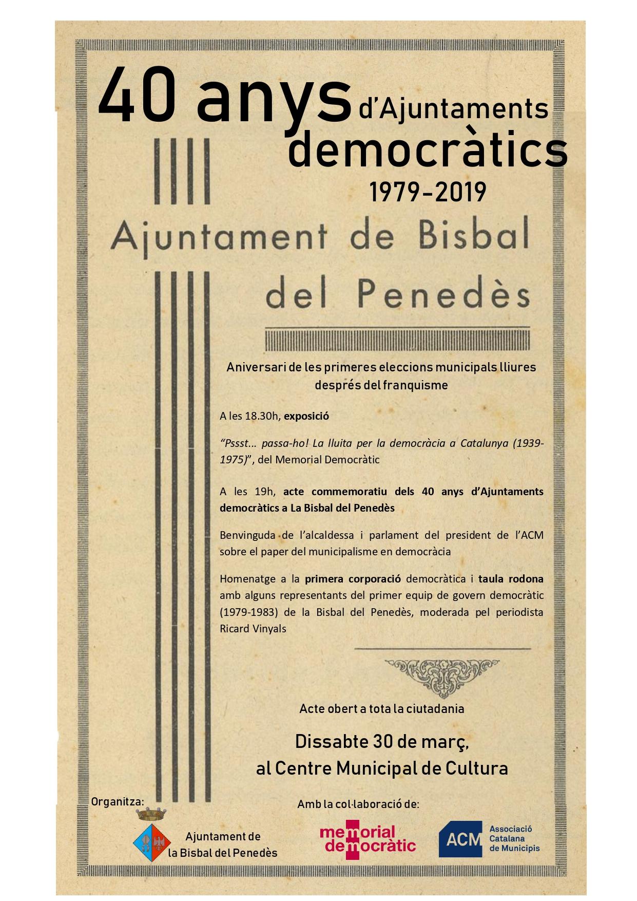 Dissabte tindran lloc dues activitats en el marc del 40è aniversari dels ajuntaments democràtics