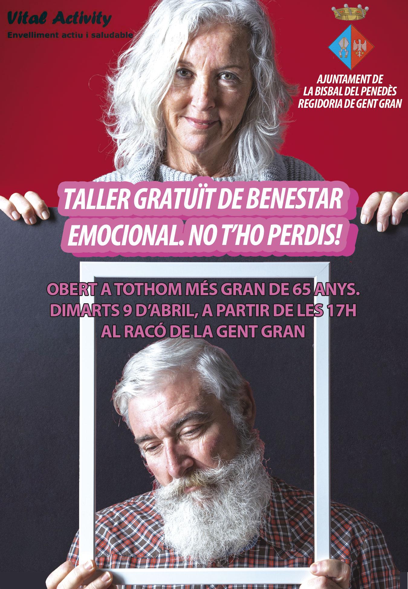 El dimarts 9 d'abril tindrà lloc un taller gratuït de benestar emocional adreçat a la gent gran