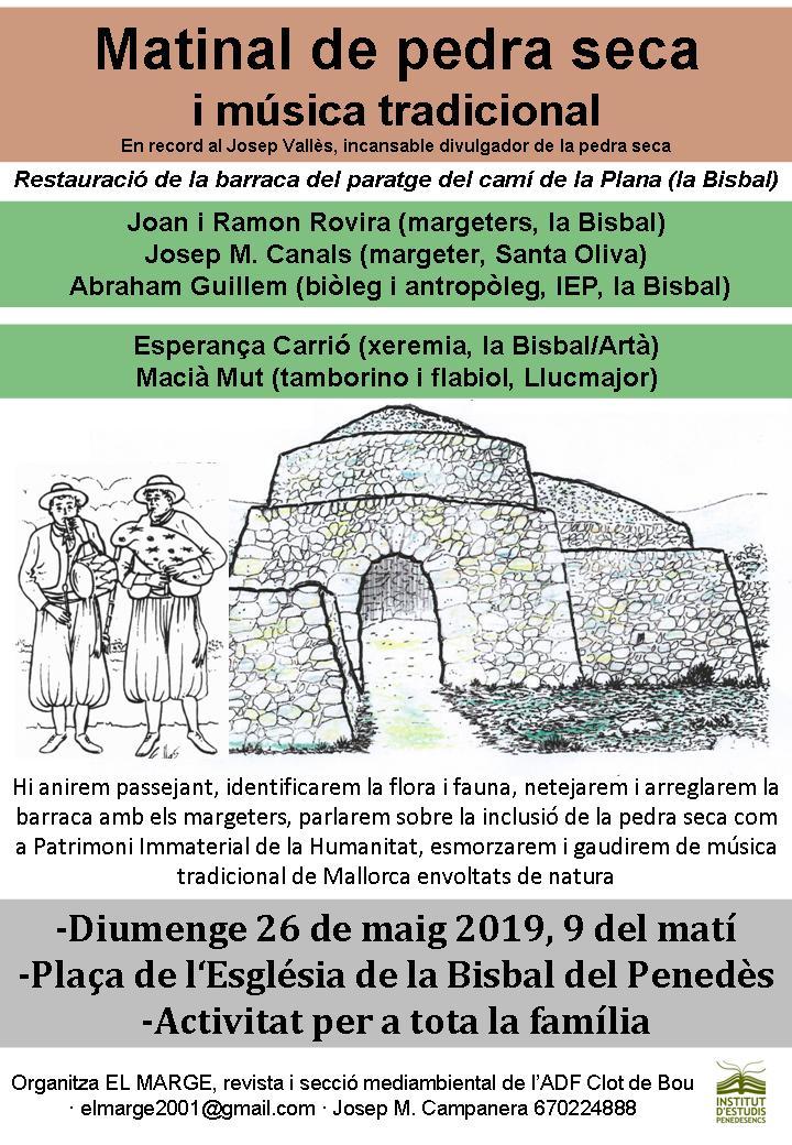 El diumenge 26 de maig tindrà lloc la Matinal de pedra seca i música tradicional de la Bisbal del Penedès