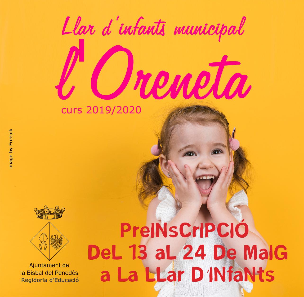 Del 13 al 24 de maig es poden realitzar les preinscripcions a la Llar d'infants l'Oreneta