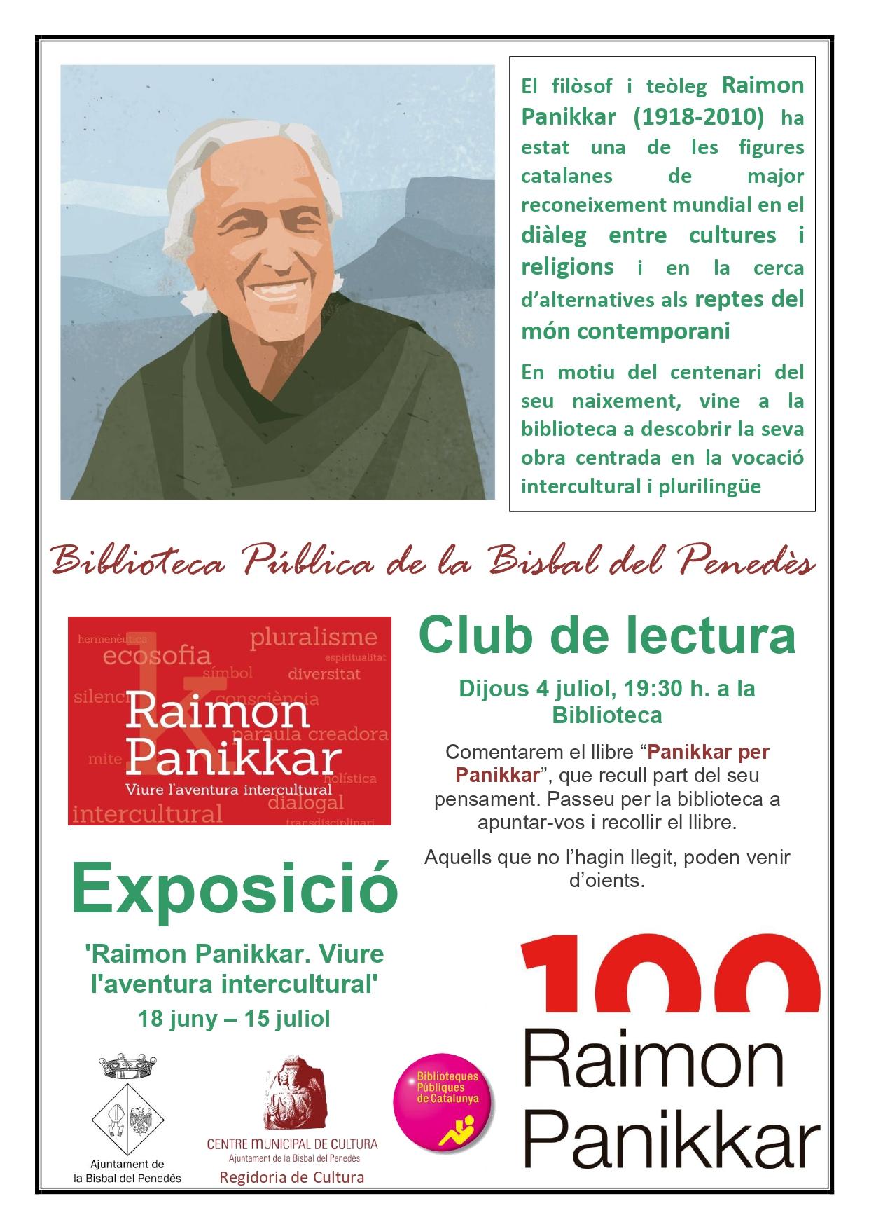 Nova exposició i club de lectura a la Biblioteca de la Bisbal del Penedès: 'Raimon Pannikar. Viure l'aventura intercultural'