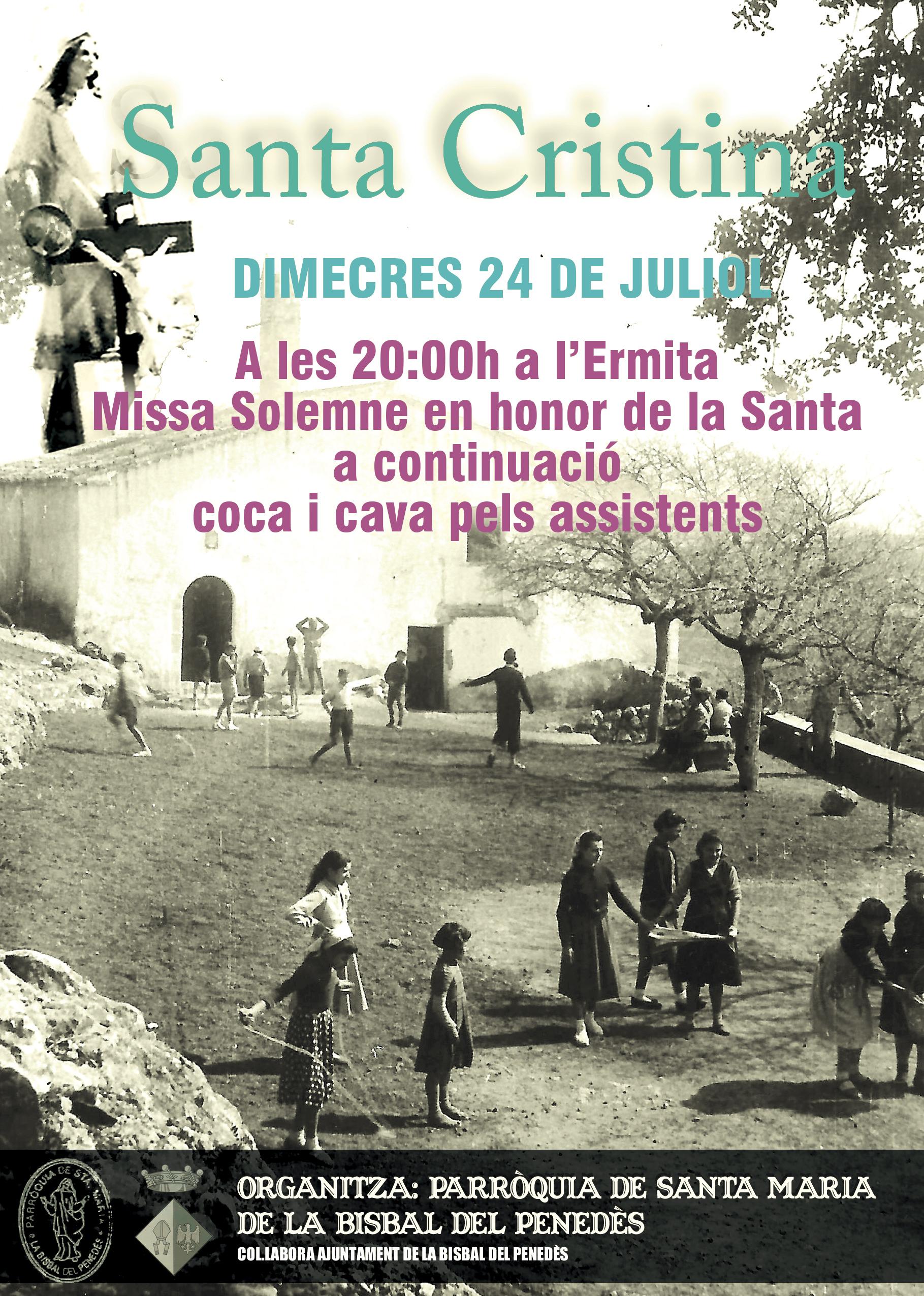 La Parròquia de Santa Maria organitza una missa a l'Ermita de Santa Cristina per al dia 24 de juliol
