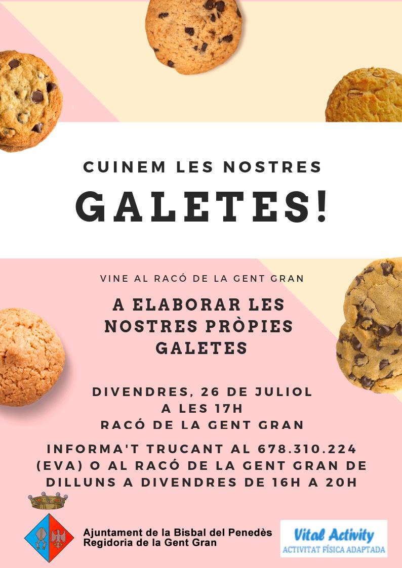 El divendres 26 de juliol a les 17h es farà un taller de cuina de galetes al Racó de la Gent Gran