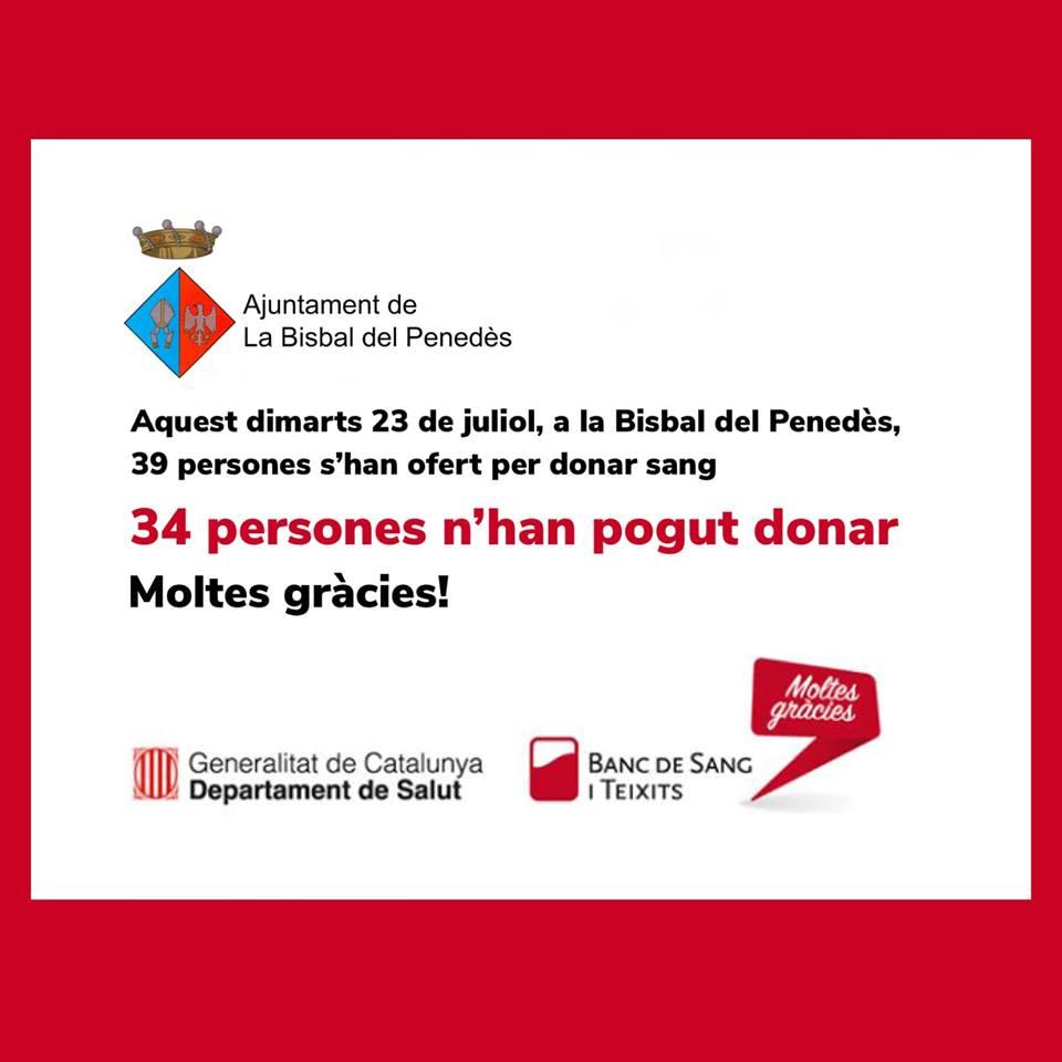 34 persones han donat sang aquest dimarts 23 de juliol a la Bisbal del Penedès