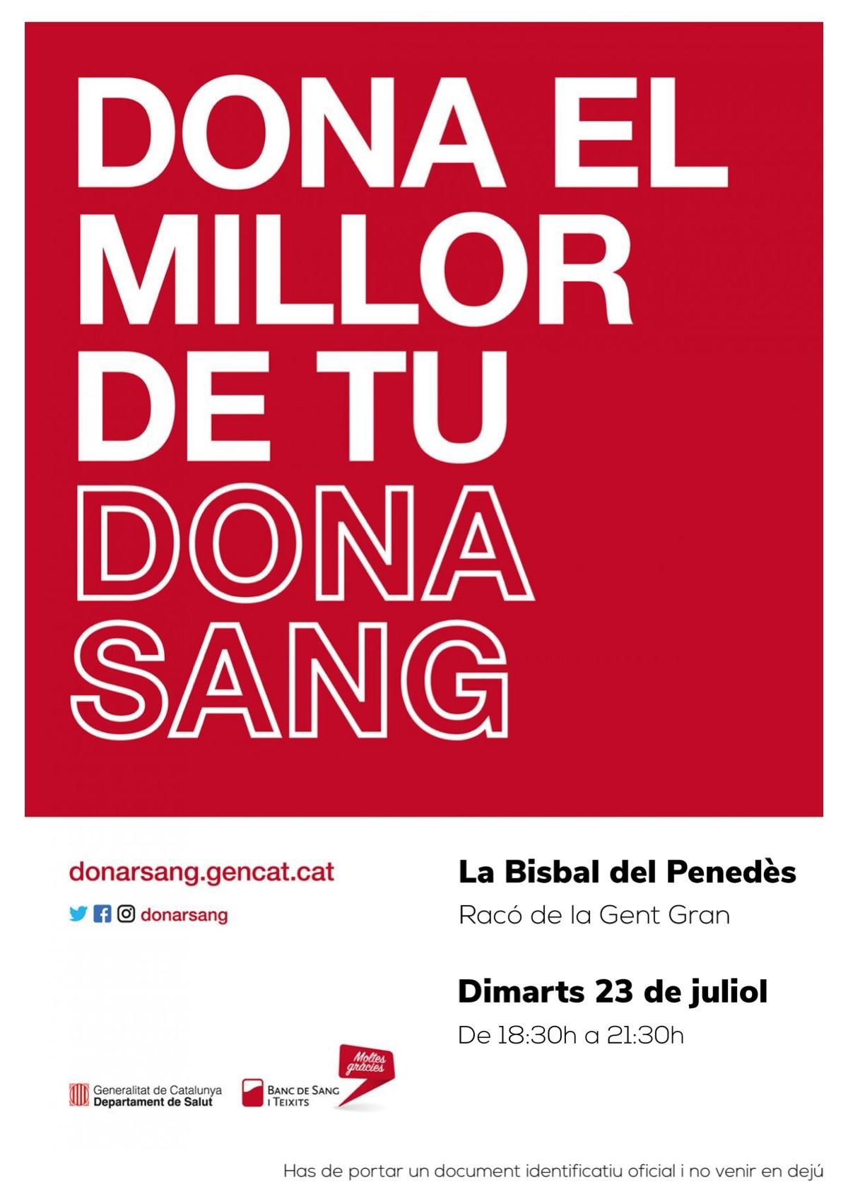 El dimarts 23 de juliol vine a donar sang al Racó de la Gent Gran
