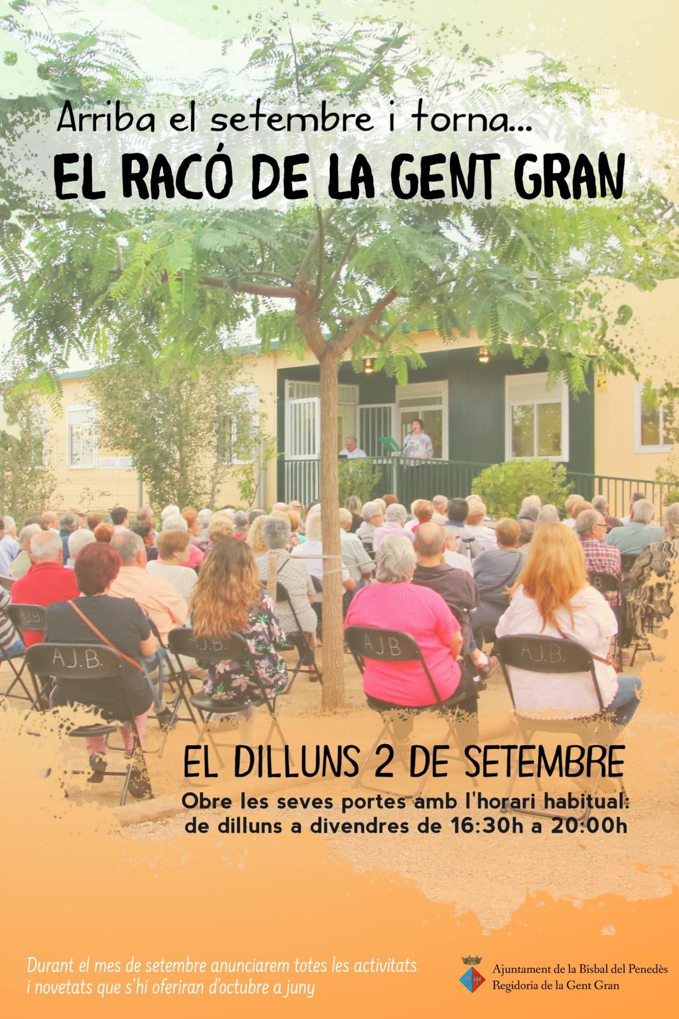El Racó de la Gent Gran inicia 'curs' el dilluns 2 de setembre