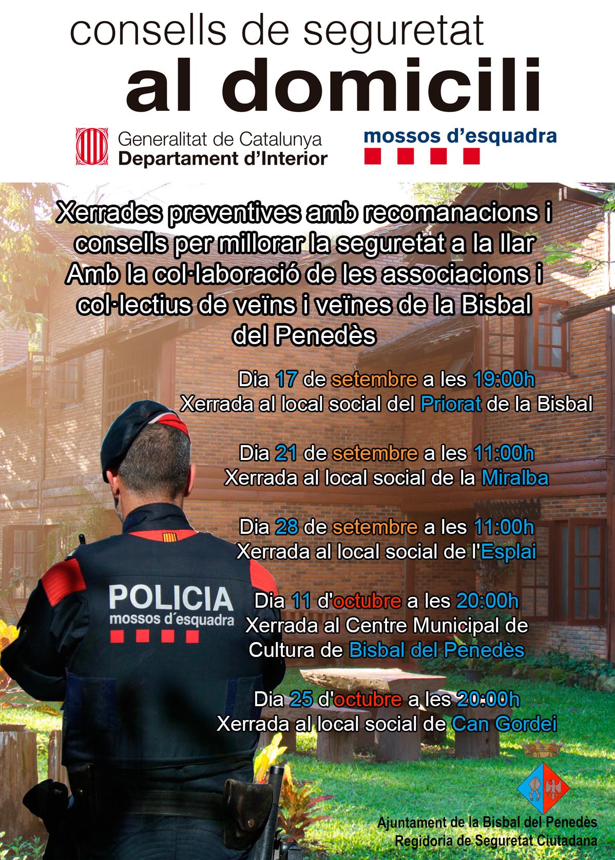 La Regidoria de Seguretat Ciutadana ha organitzat un cicle de xerrades per prevenir robatoris en domicilis particulars