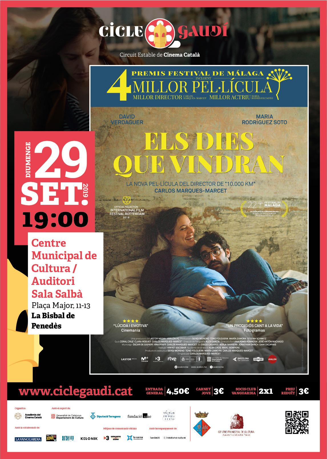 """Cicle Gaudí: El diumenge 29 de setembre a les 19h podreu veure la pel·lícula """"Els dies que vindran"""" al CMC"""