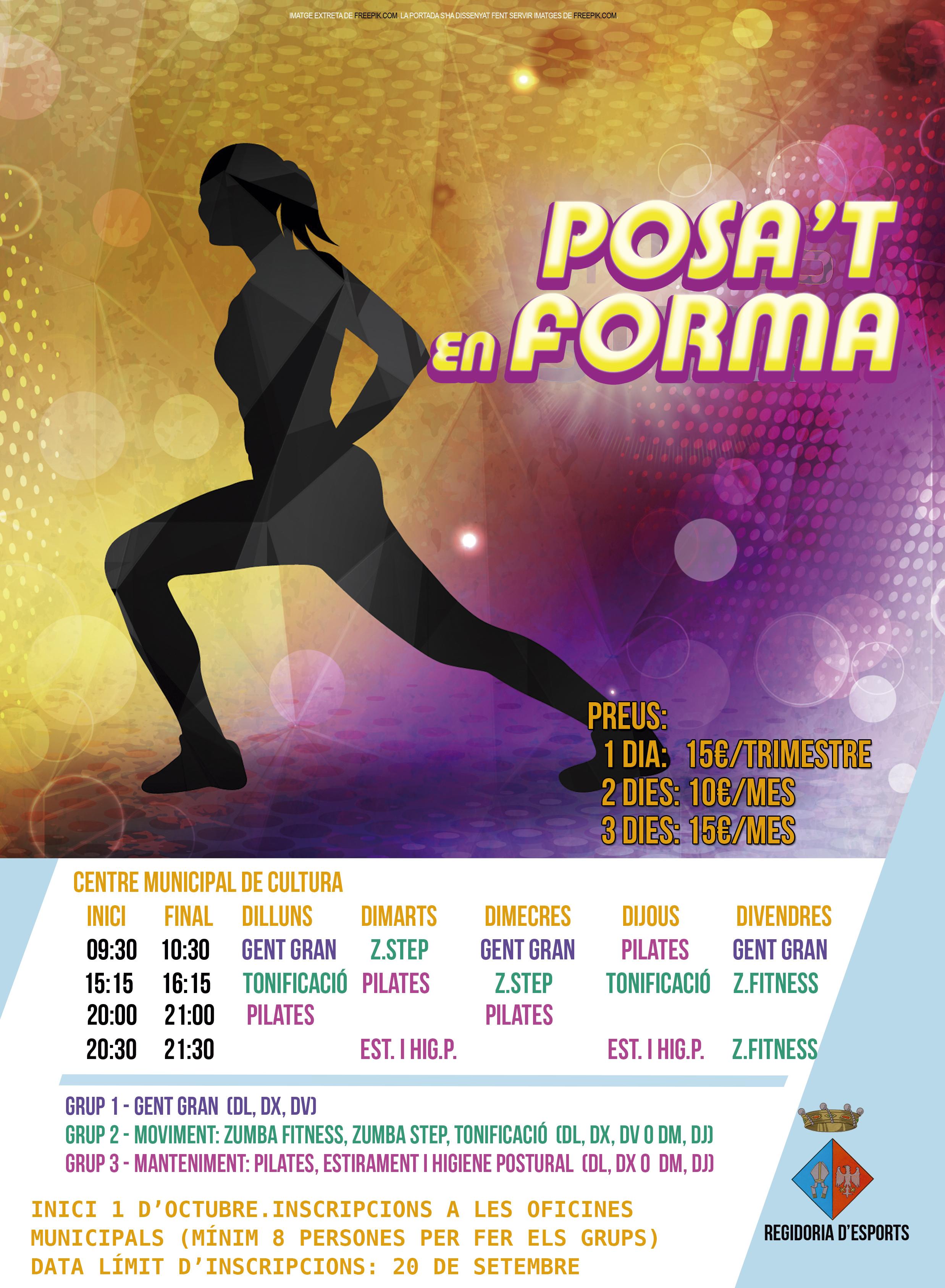 A l'octubre comencen les activitats dirigides: tonificació, pilates, Zumba, estiraments, gimnàstica per a la gent gran…