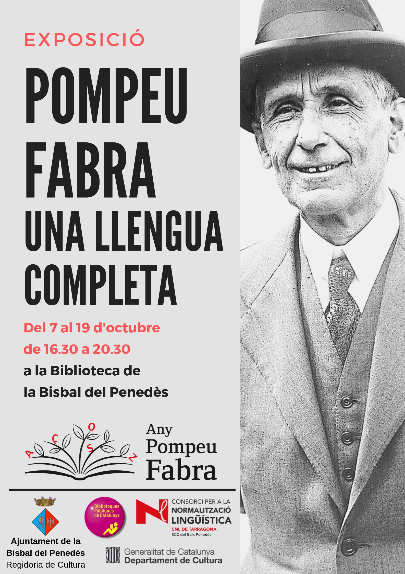 Del 7 al 19 d'octubre la Biblioteca acollirà una exposició amb motiu de l'Any Pompeu Fabra