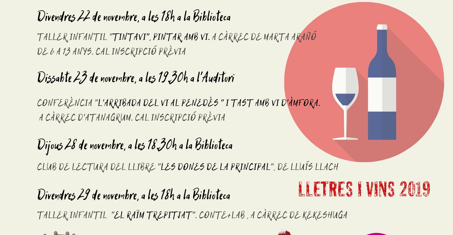 La Biblioteca de la Bisbal oferirà 7 activitats relacionades amb el món del vi aquest novembre