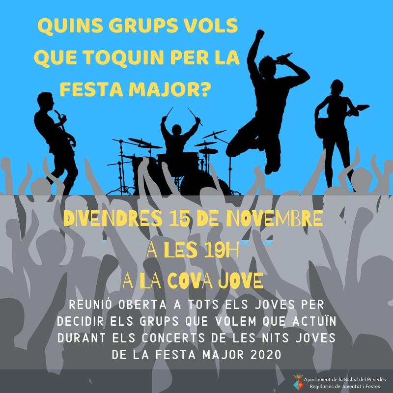 Jove! Vols triar els grups que actuaran durant les nits joves de la Festa Major? T'esperem al CMC el divendres 15 de novembre a les 19h