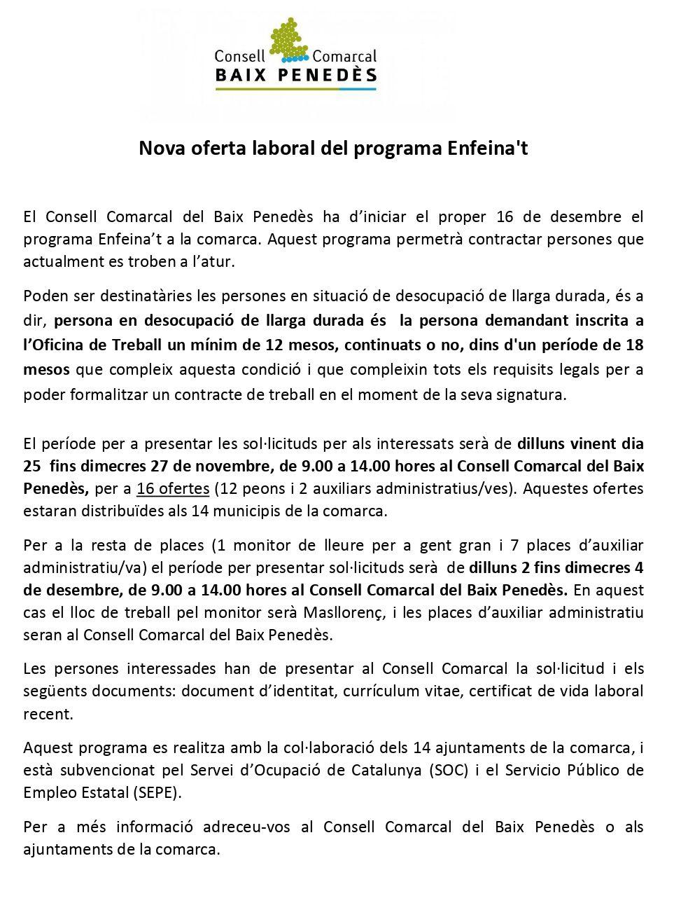 Nova oferta laboral del programa Enfeina't del Consell Comarcal del Baix Penedès
