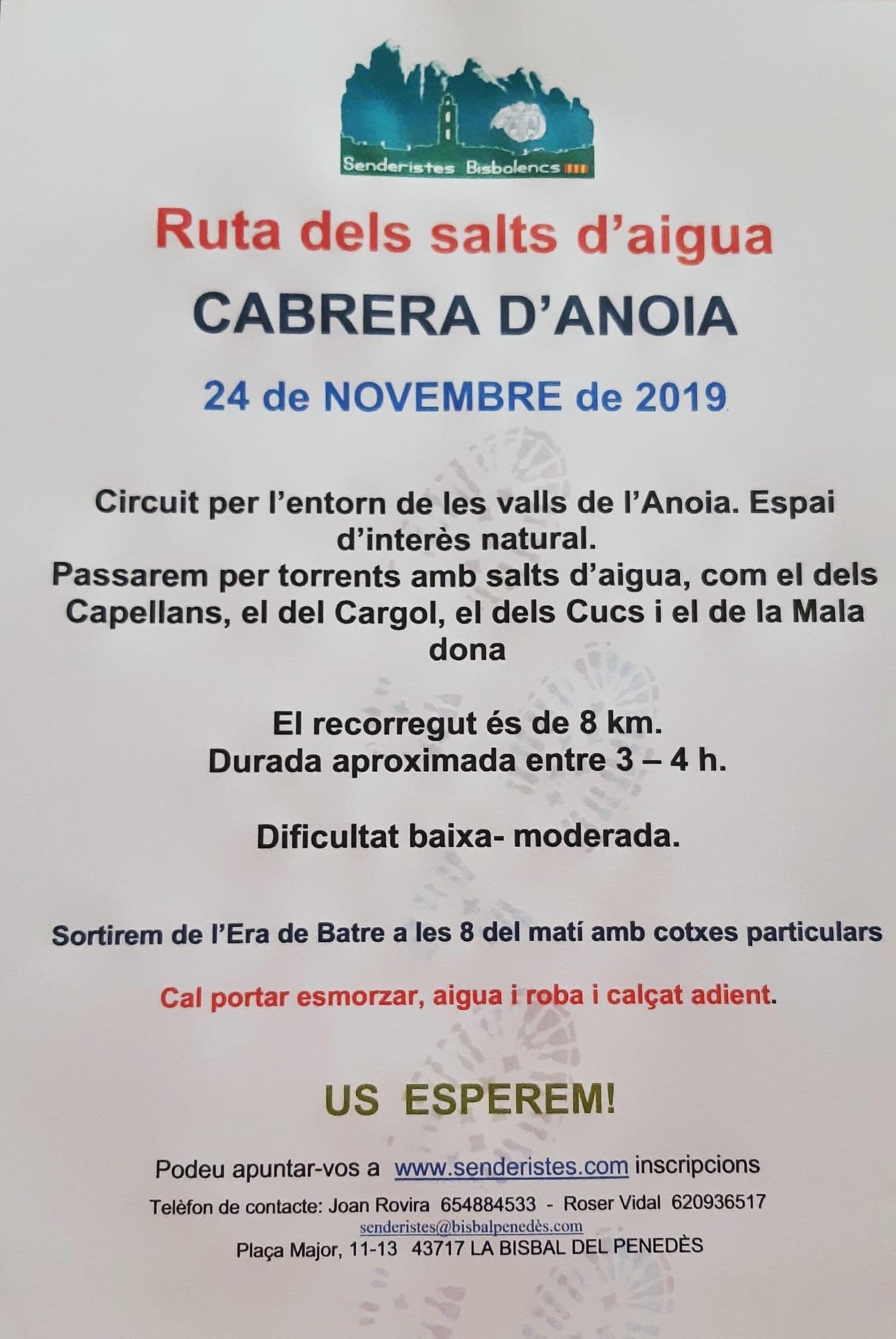 El proper diumenge 24 de novembre tindrà lloc una sortida a Cabrera d'Anoia organitzada per Senderistes Bisbalencs