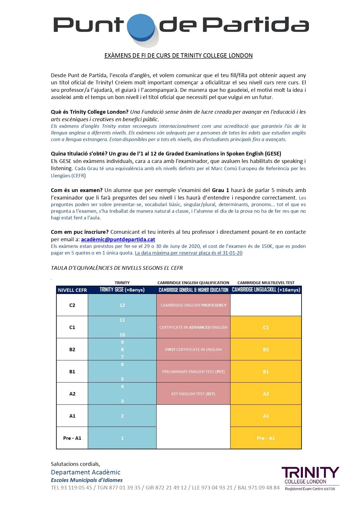 Escola d'idiomes municipal: informació sobre els exàmens de fi de curs de Trinity College London i de Cambridge (Linguaskill)