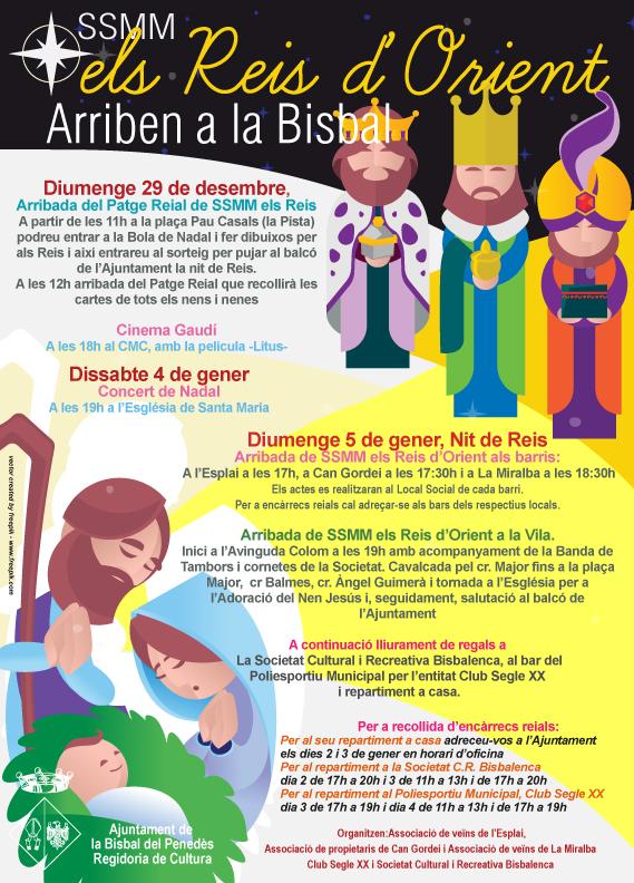 Programa d'activitats amb motiu de l'arribada de SSMM els Reis d'Orient