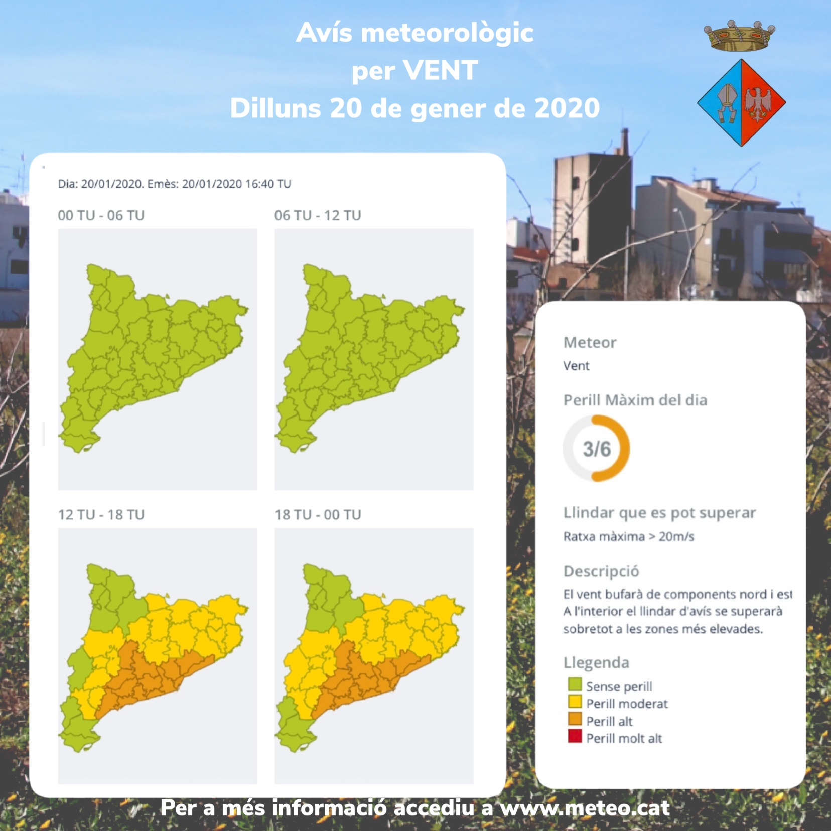 Actualització 20-01-2020 – Avisos per vent i acumulació de pluja