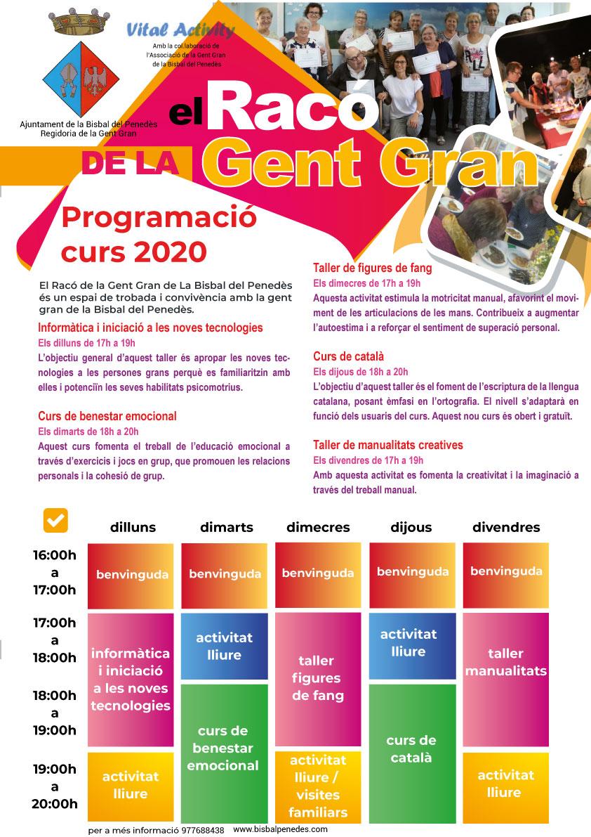 Programa d'activitats del Racó de la Gent Gran per a l'any 2020