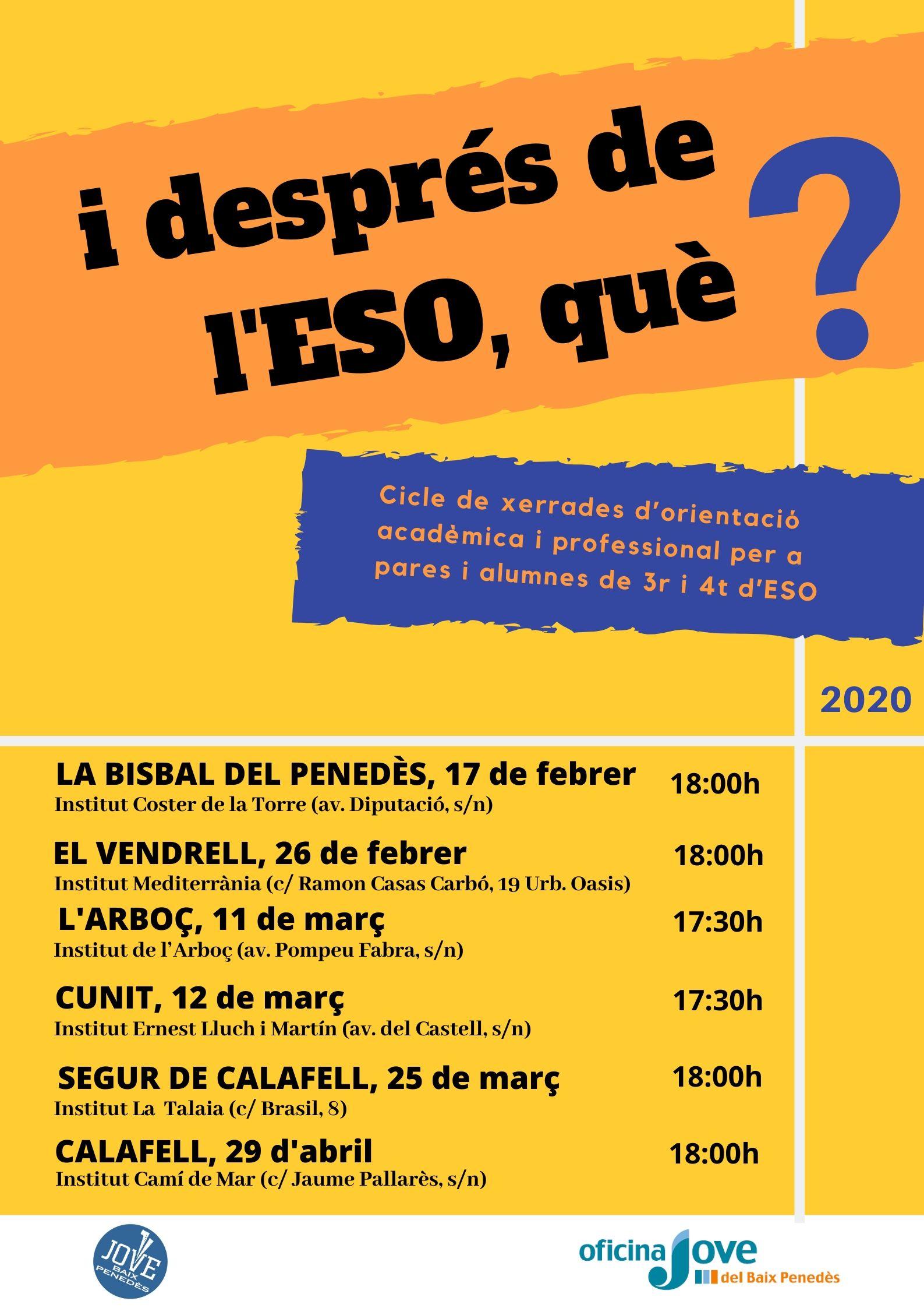El dilluns 17 de febrer tindrà lloc la xerrada 'I després de l'ESO què? a l'Institut Coster de la Torre
