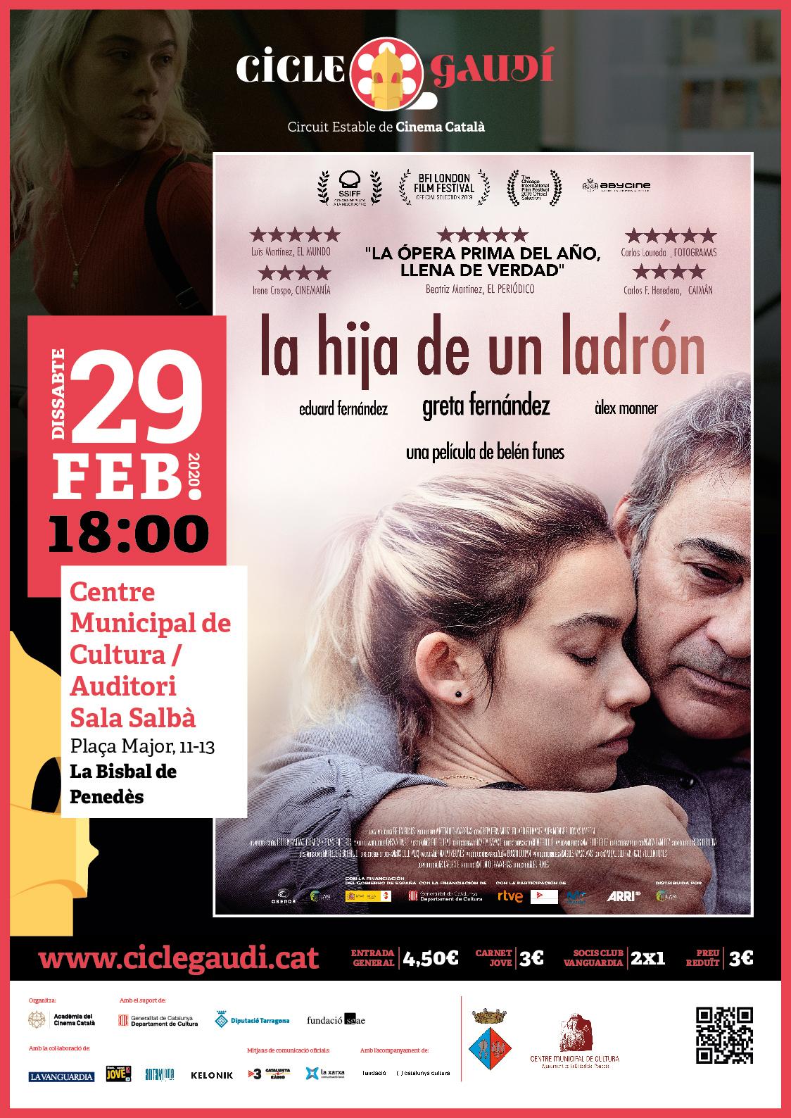 Cicle Gaudí: el dissabte 29 de febrer a les 18h podreu veure la pel·lícula 'La hija de un ladrón' al CMC