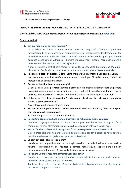 Preguntes freqüents sobre el coronavirus Covid-19. Què puc fer i què no? Versió 18-03-20 | 20h