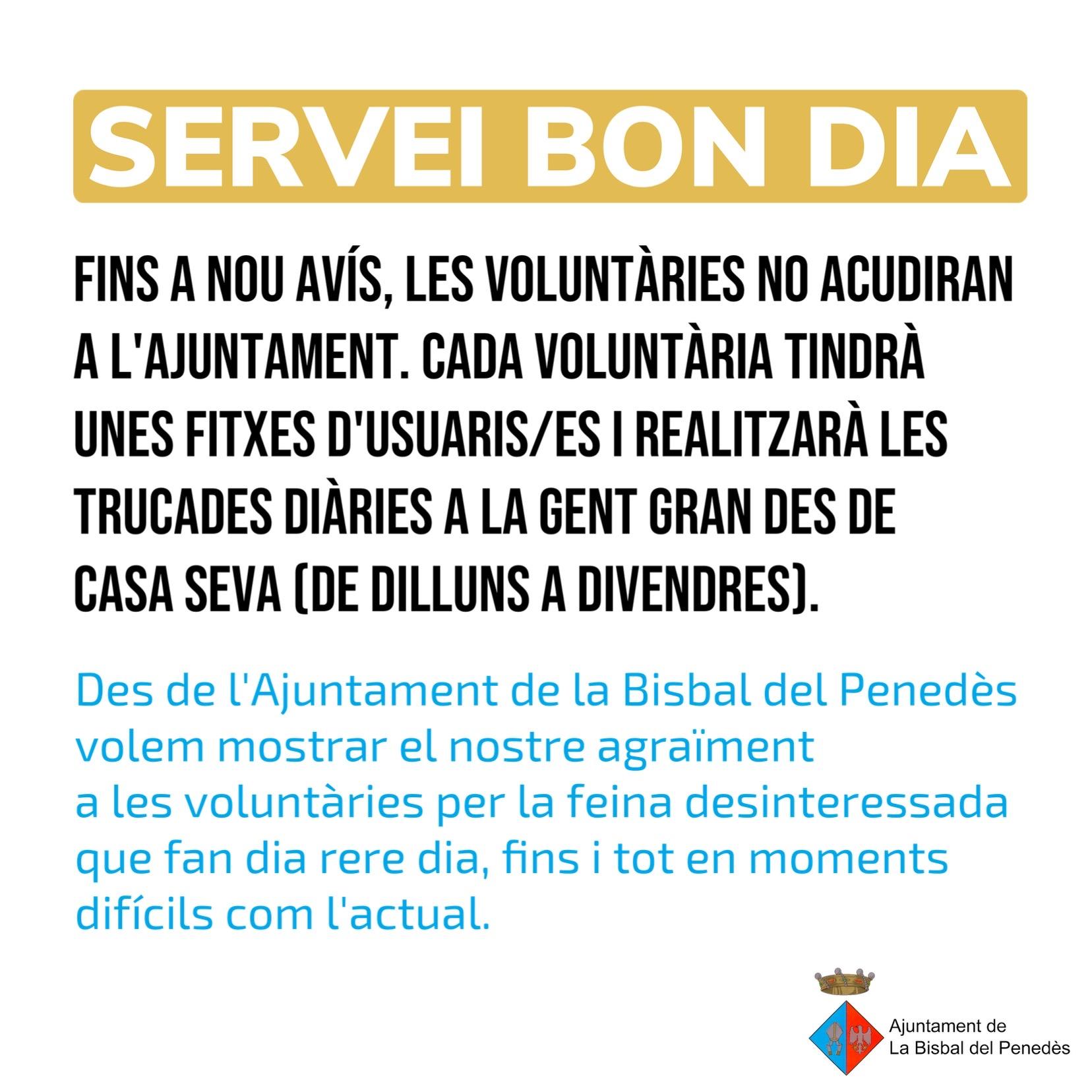 Les voluntàries del Servei Bon dia faran les trucades des de casa seva