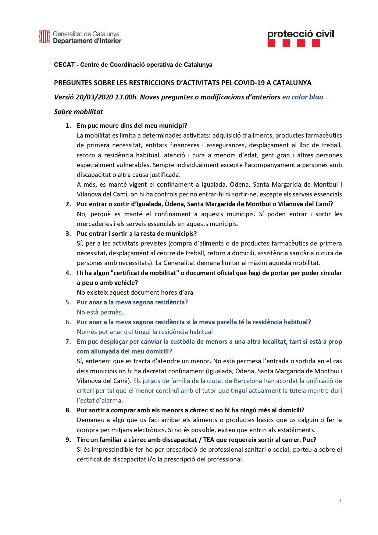 Preguntes freqüents sobre el coronavirus Covid-19. Què puc fer i què no? Versió 20-03-20 | 13h