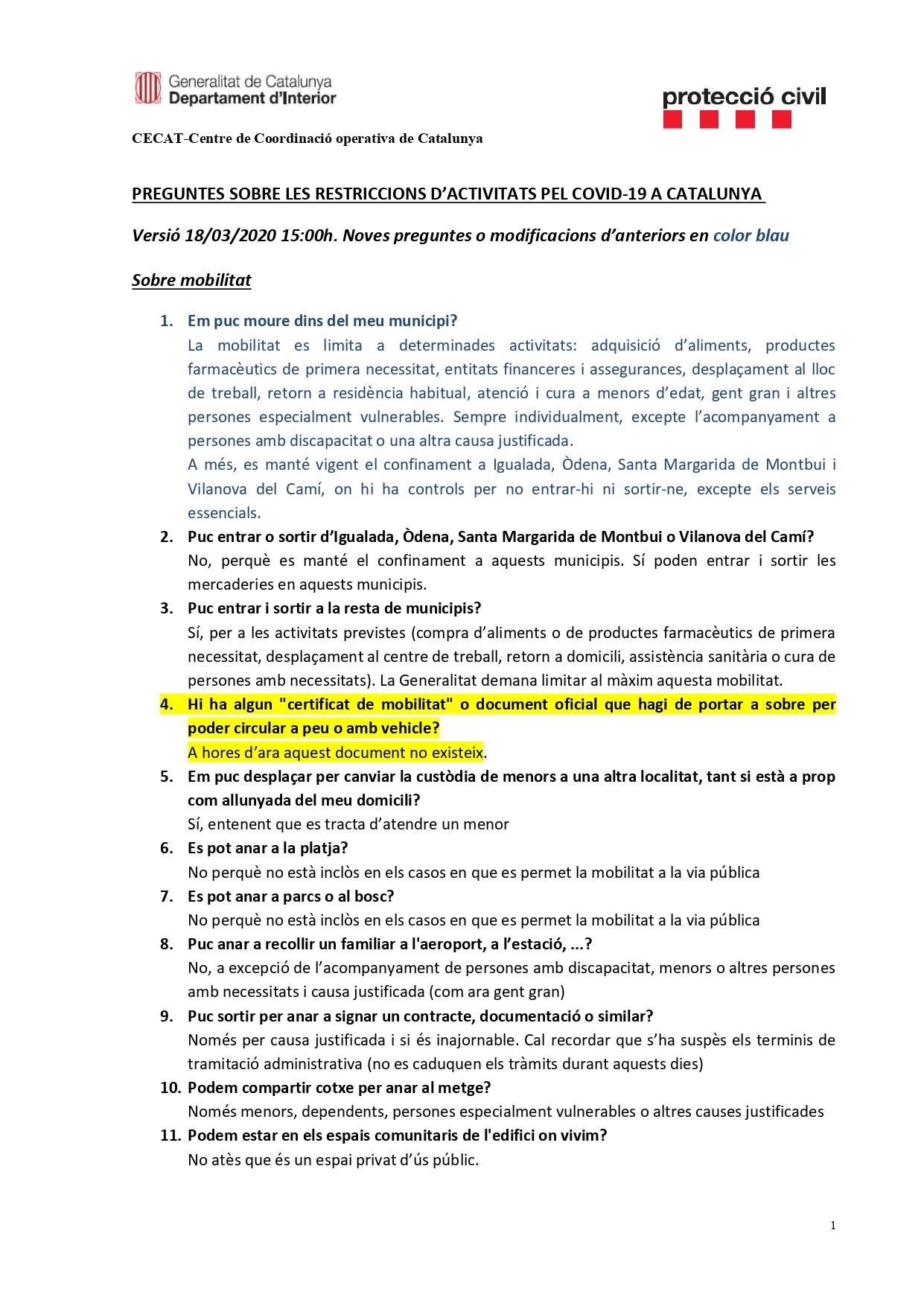 Preguntes freqüents sobre el coronavirus Covid-19. Què puc fer i què no? Versió 18-03-20 | 15h