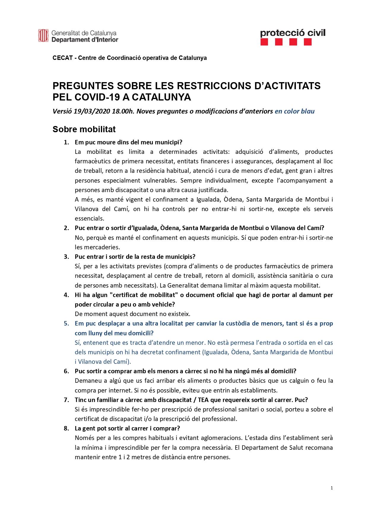 Preguntes freqüents sobre el coronavirus Covid-19. Què puc fer i què no? Versió 19-03-20 | 18h