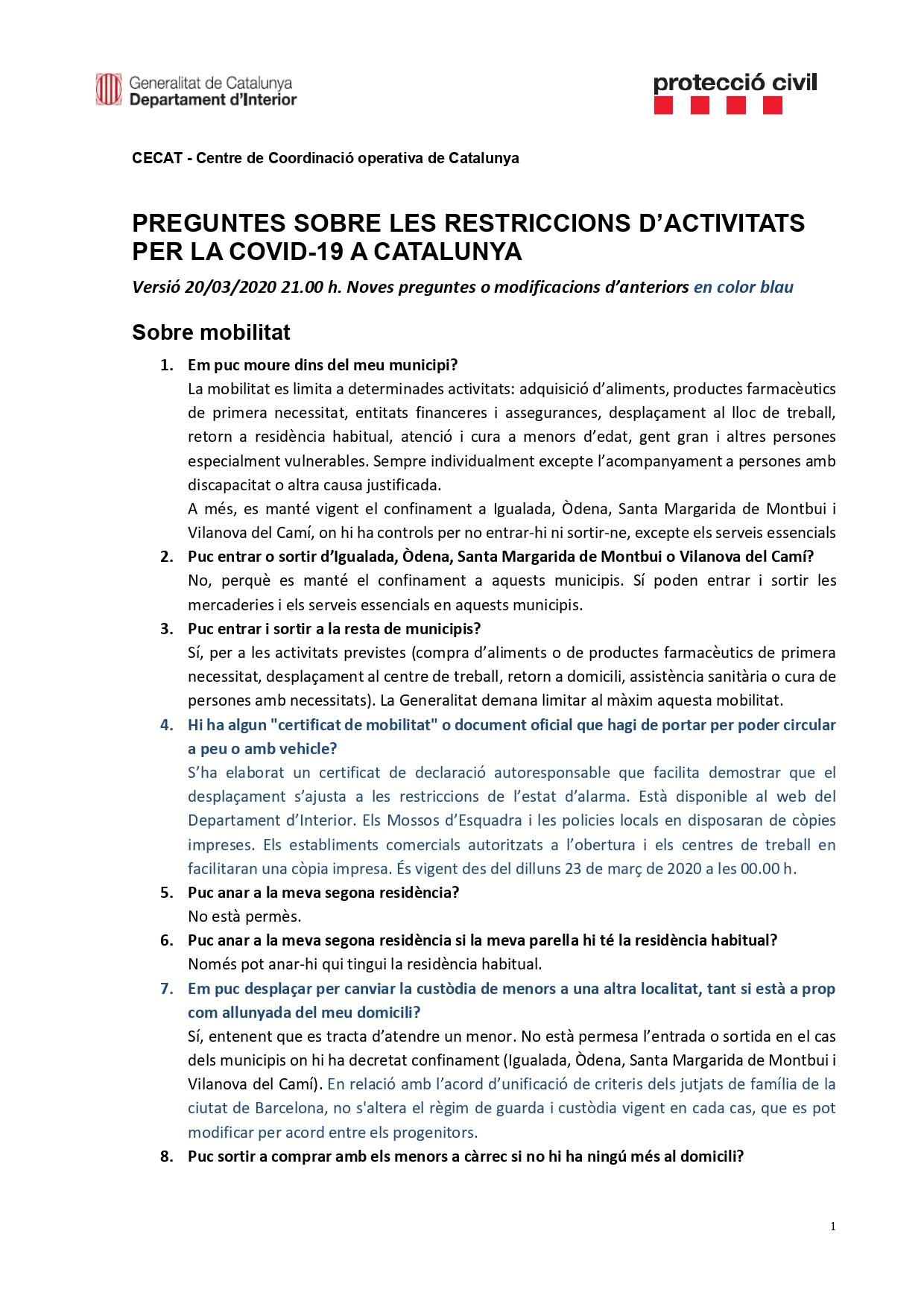 Preguntes freqüents sobre el coronavirus Covid-19. Què puc fer i què no? Versió 20-03-20 | 21h