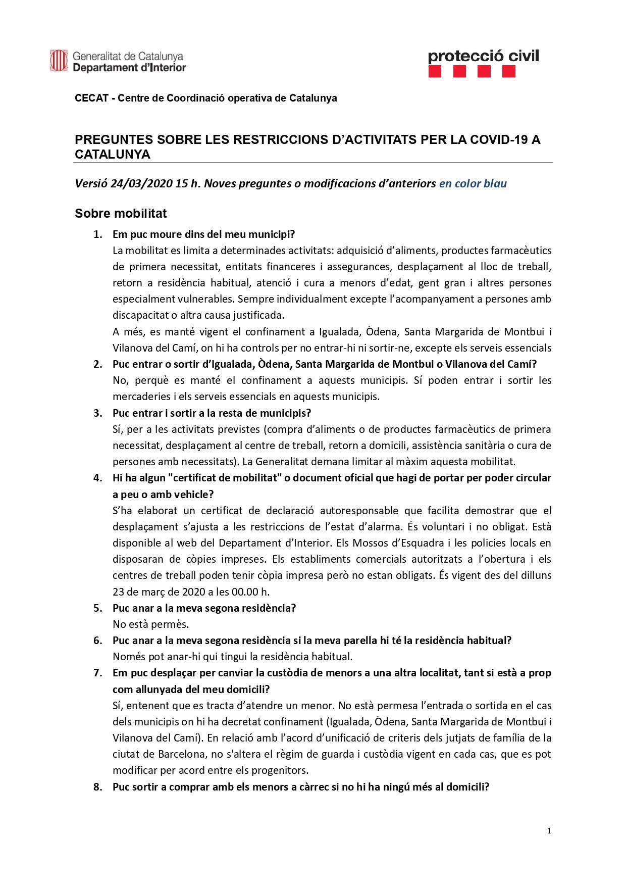 Preguntes freqüents sobre el coronavirus Covid-19. Què puc fer i què no? Versió 24-03-20 | 15h