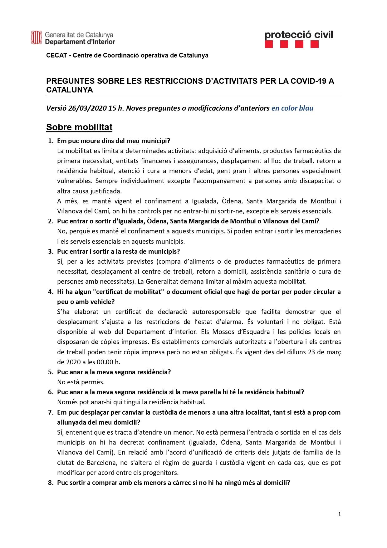 Preguntes freqüents sobre el coronavirus Covid-19. Què puc fer i què no? Versió 26-03-20 | 15h