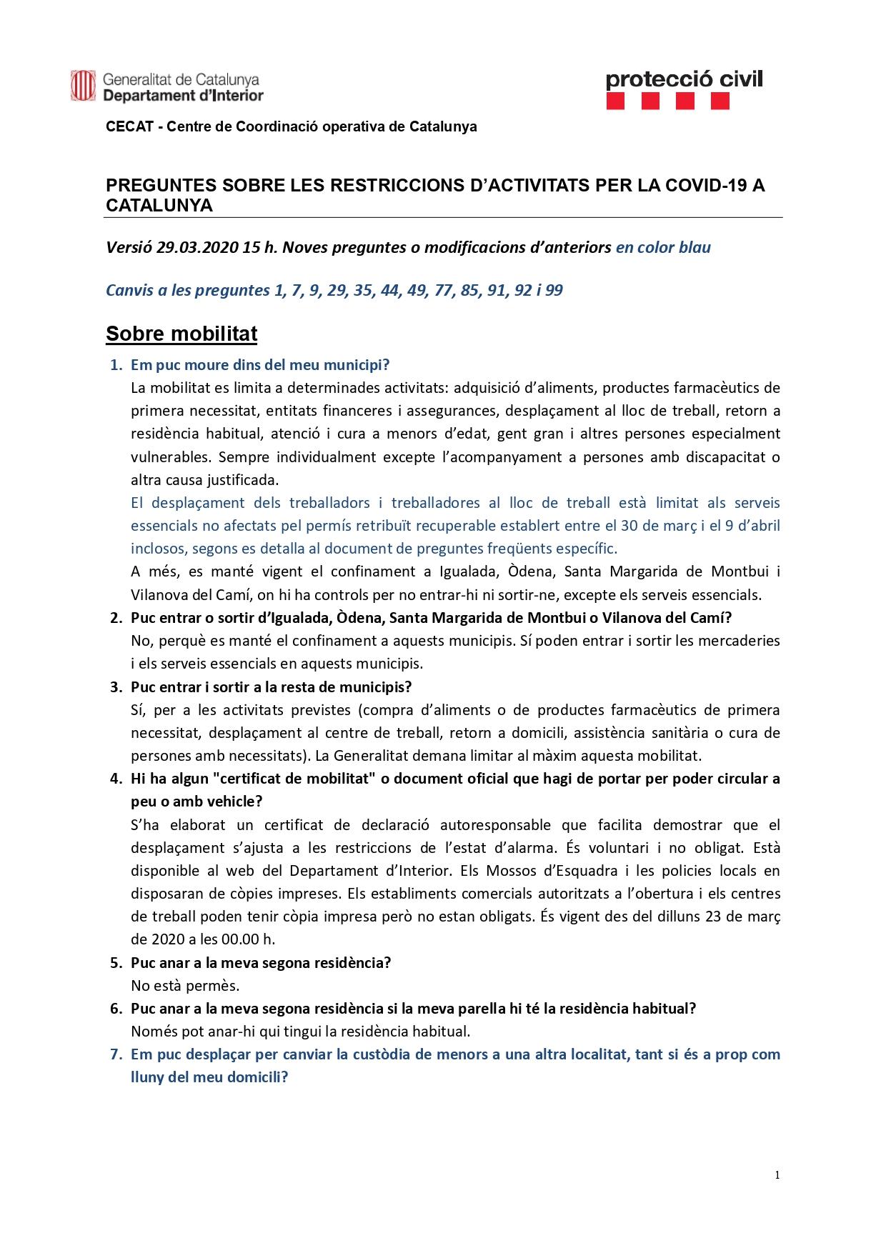 Preguntes freqüents sobre el coronavirus Covid-19. Què puc fer i què no? Versió 30-03-20 | 15h