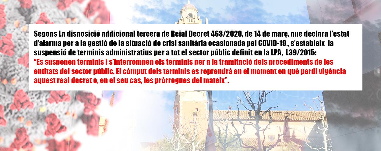 Supensió de terminis. RD 463/2020