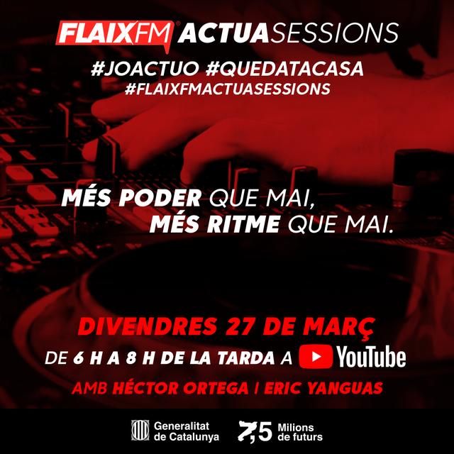Joves! (I no tan joves) Aquest divendres de 18 a 20h gaudiu de la sessió de FLAIX FM en el marc de la campanya #JoActuo