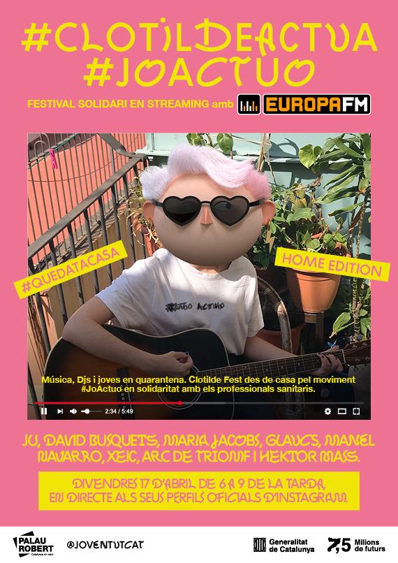 Jove! Aquest divendres a les 18h connecta de nou amb el Festival Solidari #ClotildeActua a Youtube