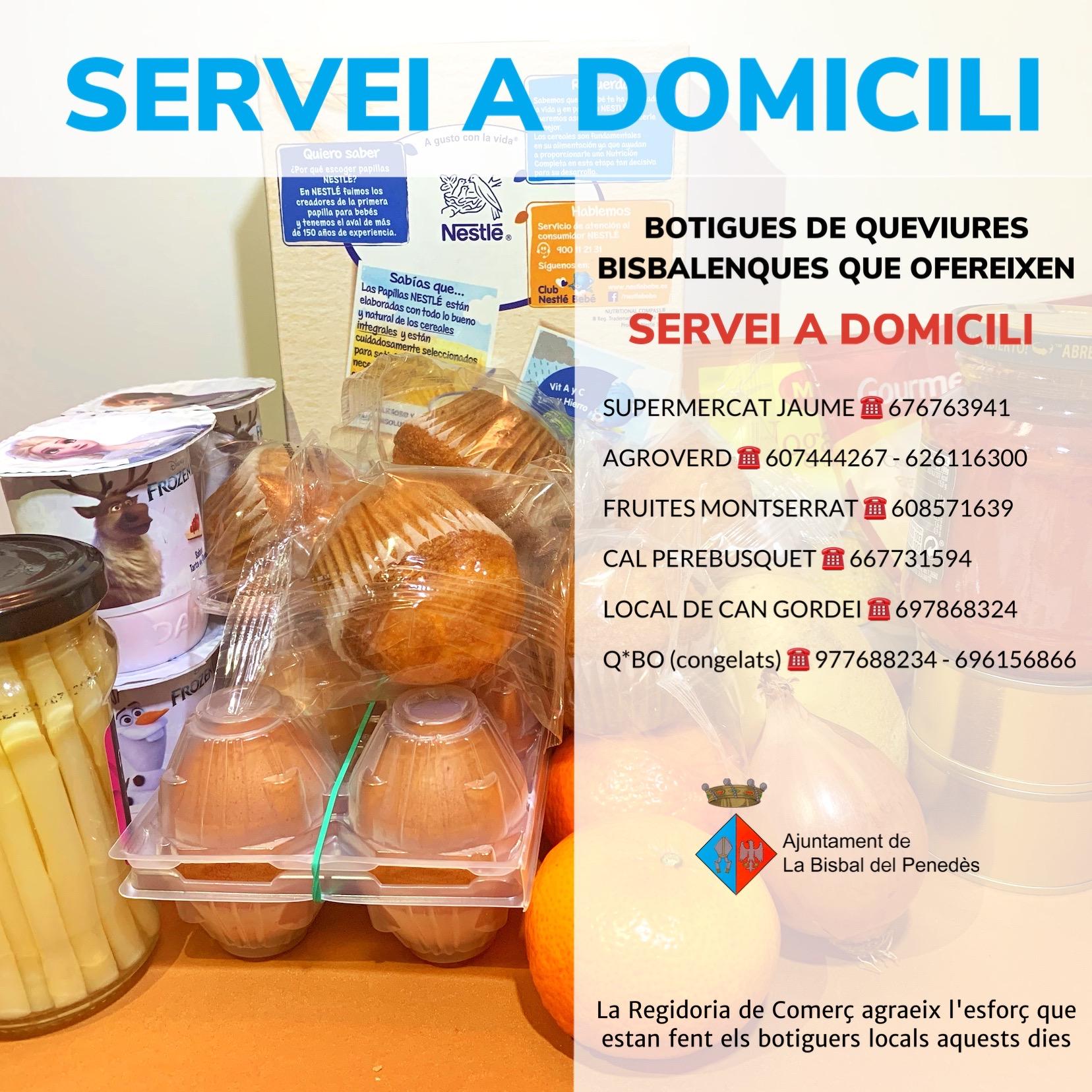 Recomanacions de Protecció Civil per anar a comprar i llistat de botigues bisbalenques amb servei a domicili