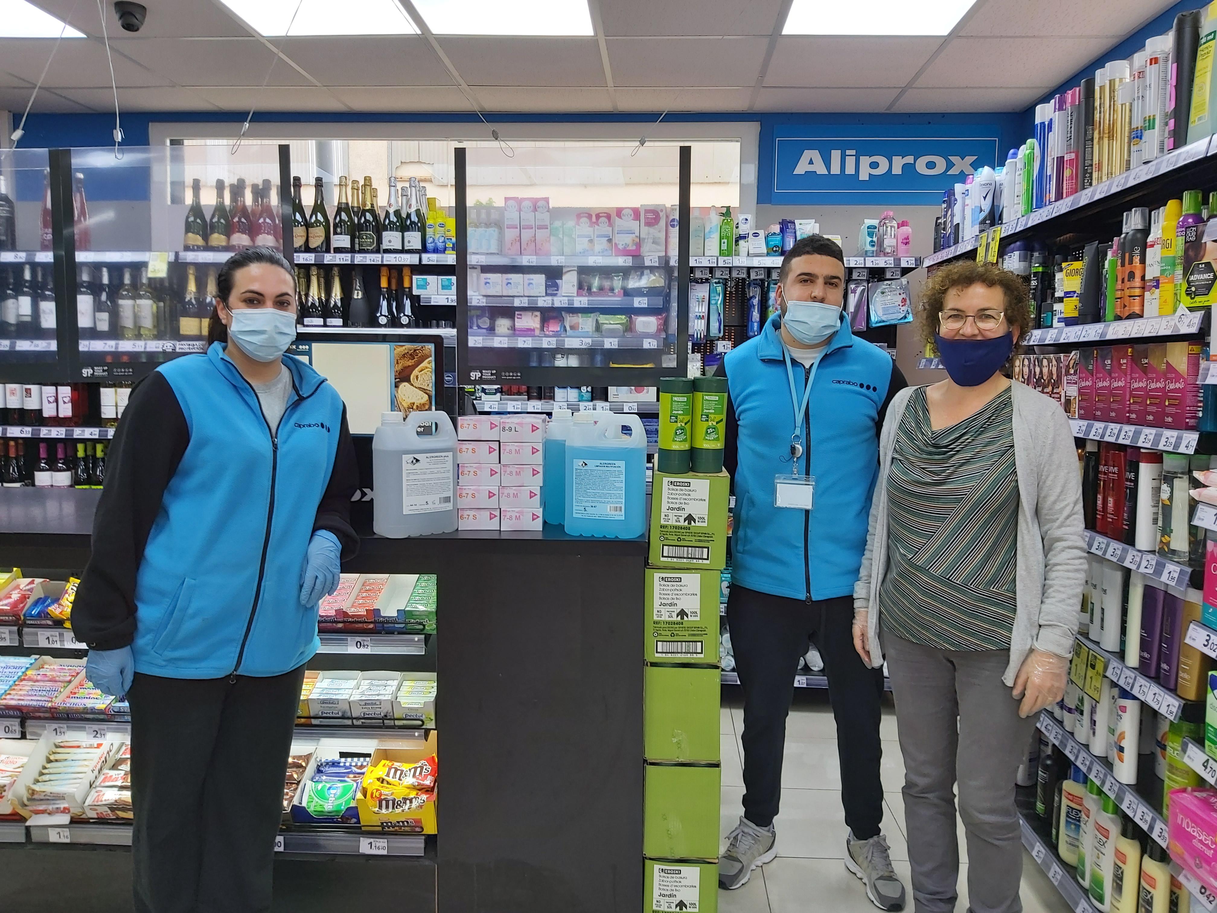 Agraïment al supermercat Aliprox de la Bisbal del Penedès per haver fet una donació de material de protecció i desinfecció