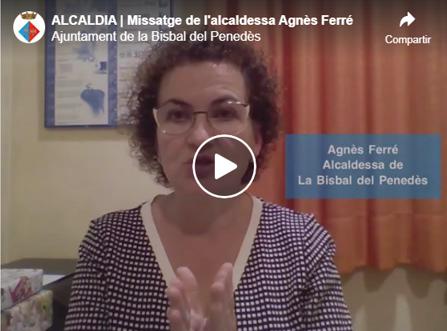 Missatge de l'alcaldessa Agnès Ferré amb motiu del Covid-19 (9/04/2020)