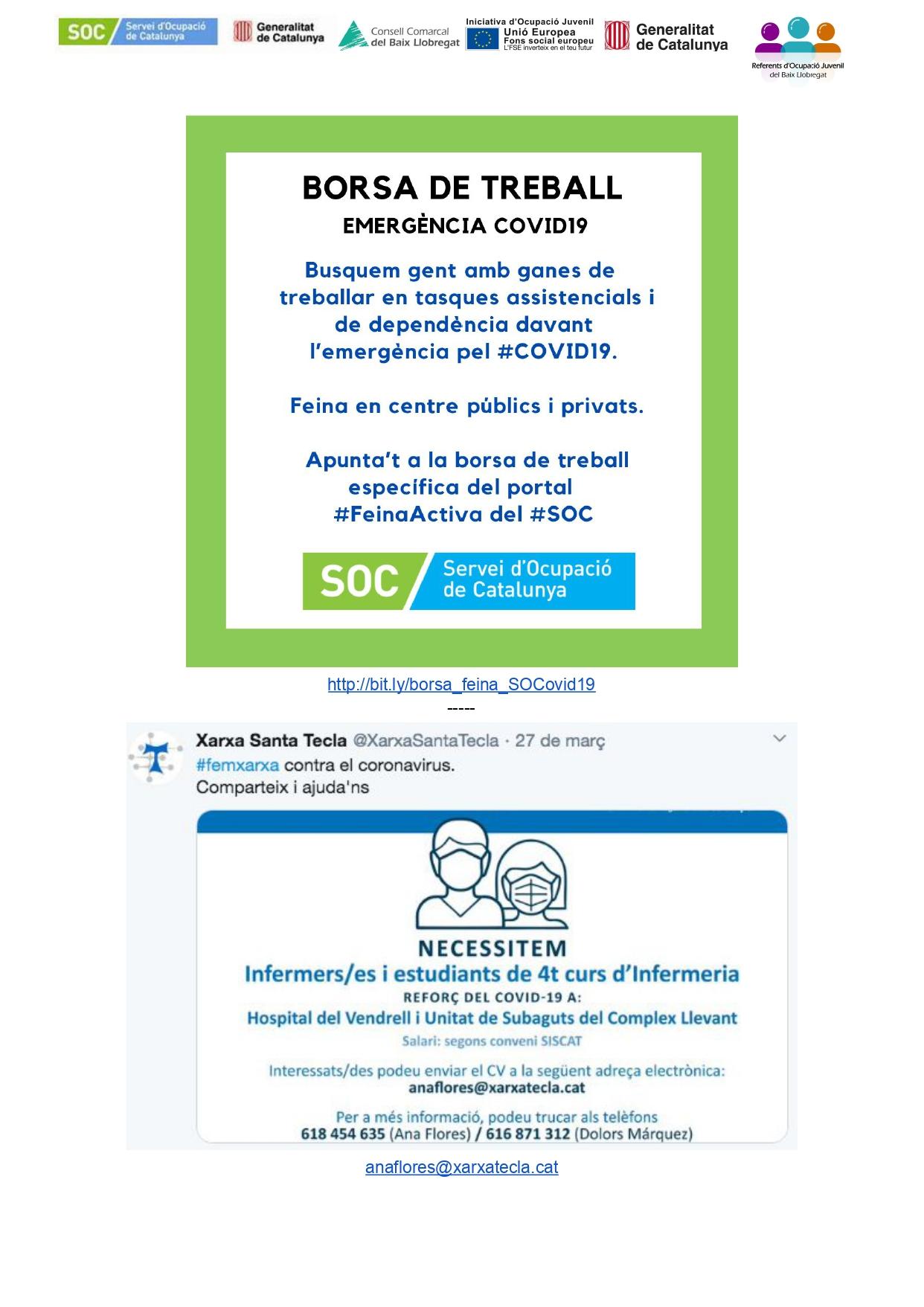 Ofertes de feina publicades des del Servei d'Ocupació de Catalunya (30 de març de 2020)