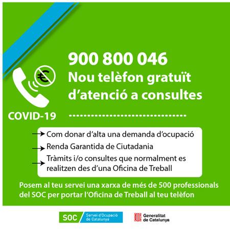 Telèfon de contacte del SOC i resposta a les preguntes freqüents sobre ocupació en el marc de la situació actual generada pel COVID-19