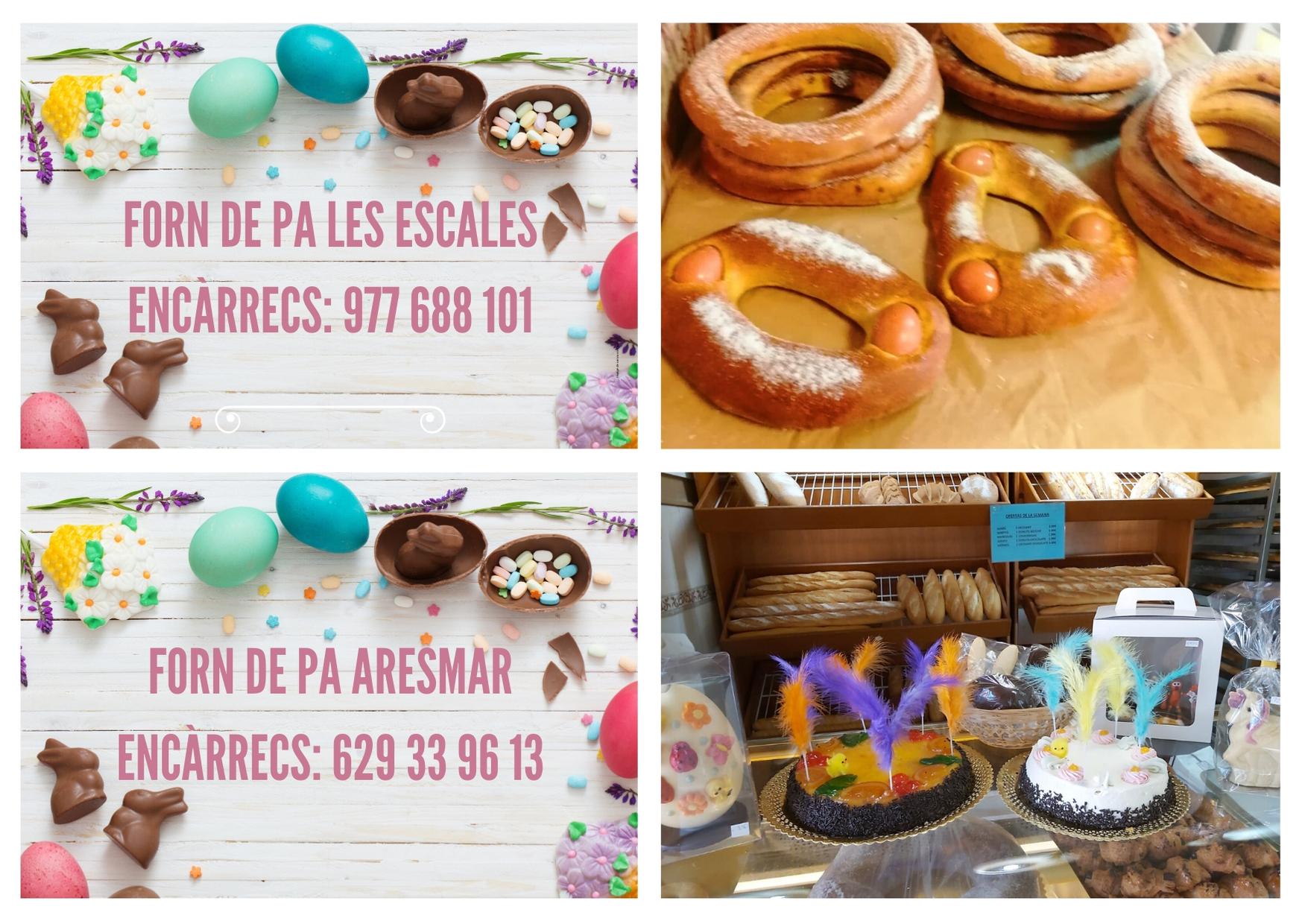 Telèfons per a encarregar mones de Pasqua als forns de pa de la Bisbal