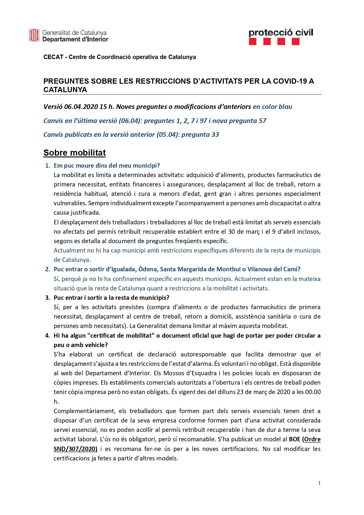 Preguntes freqüents sobre el coronavirus Covid-19. Què puc fer i què no? Versió 06-04-20 | 15h