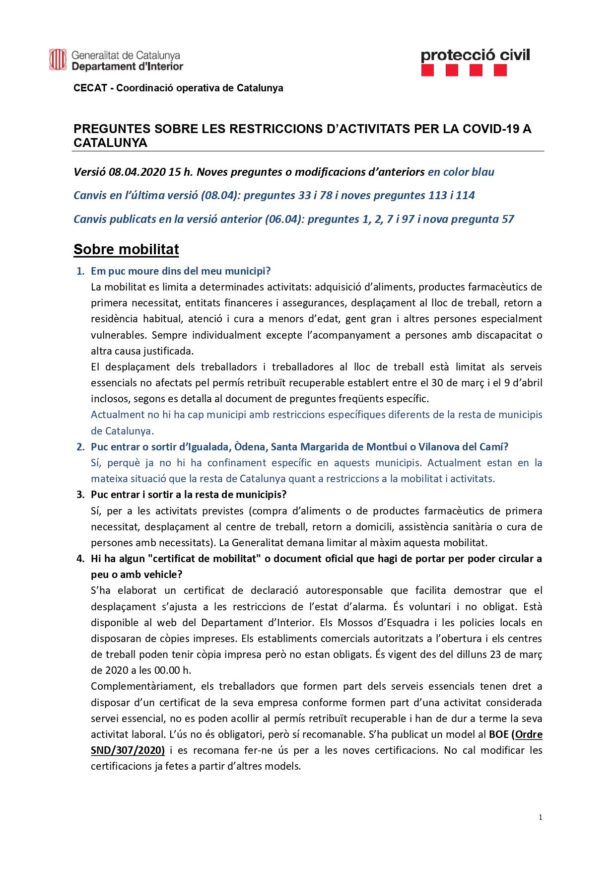 Preguntes freqüents sobre el coronavirus Covid-19. Què puc fer i què no? Versió 08-04-20   15h