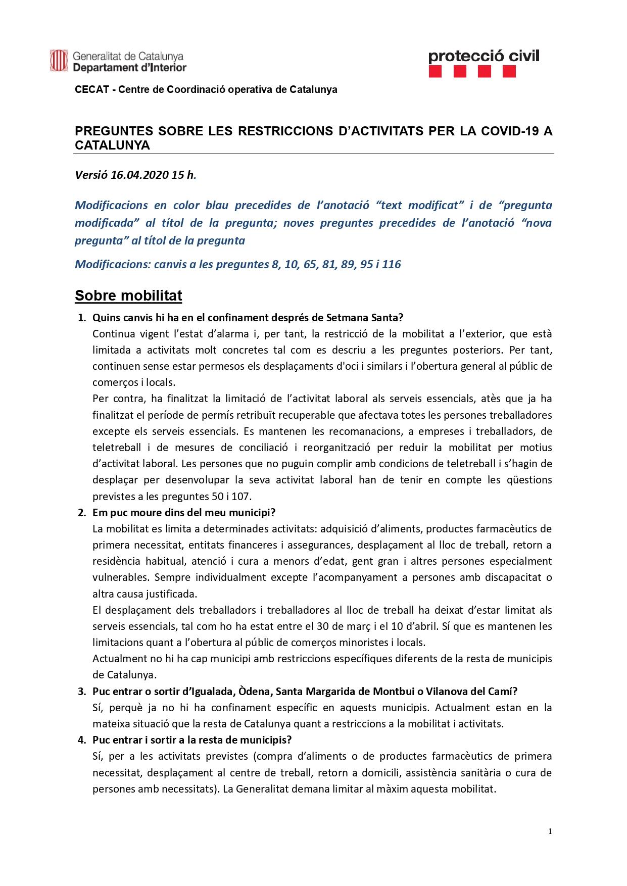 Preguntes freqüents sobre el coronavirus Covid-19. Què puc fer i què no? Versió 16-04-20 15h