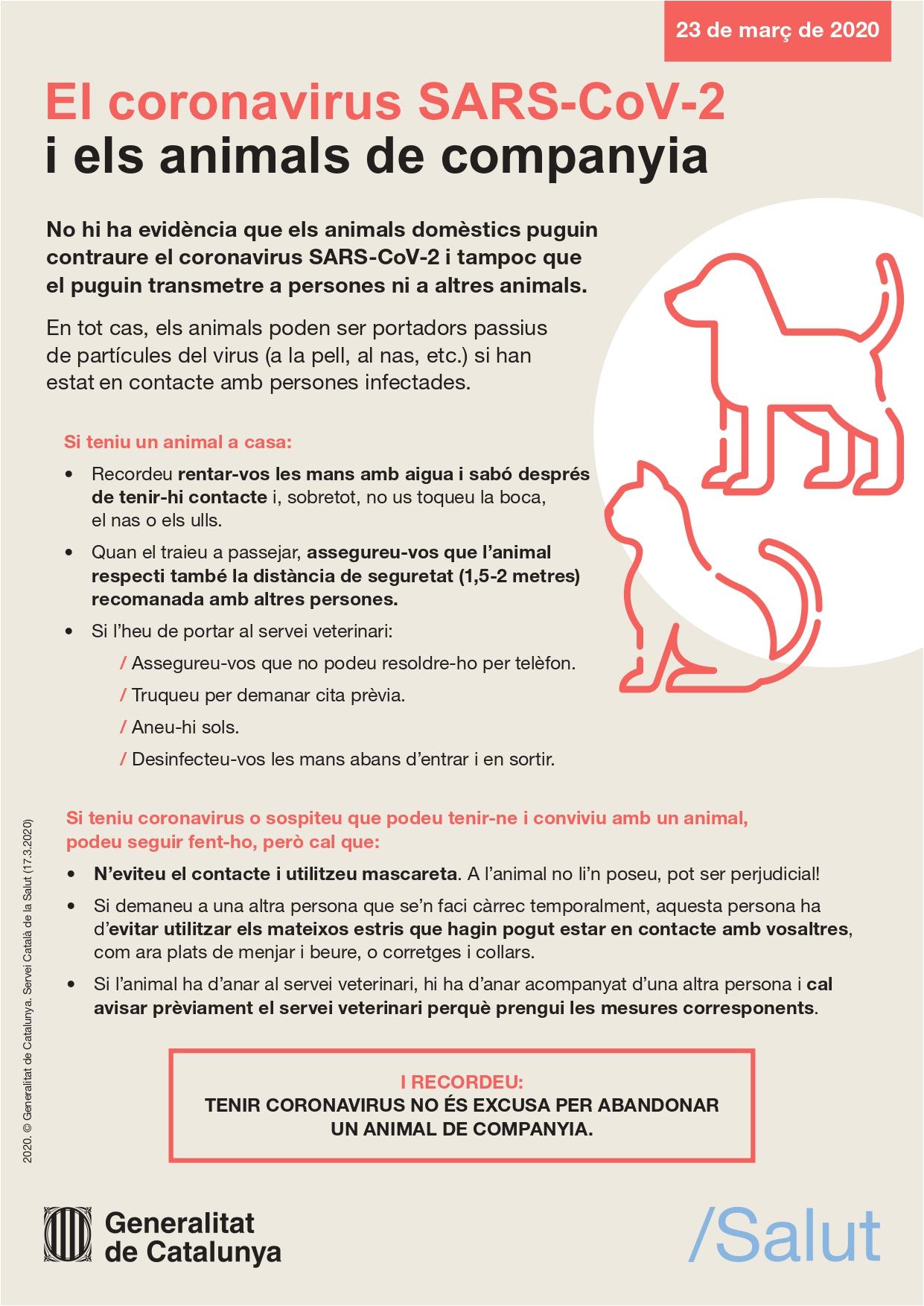 Recomanacions per a les persones que conviuen amb animals domèstics durant el confinament