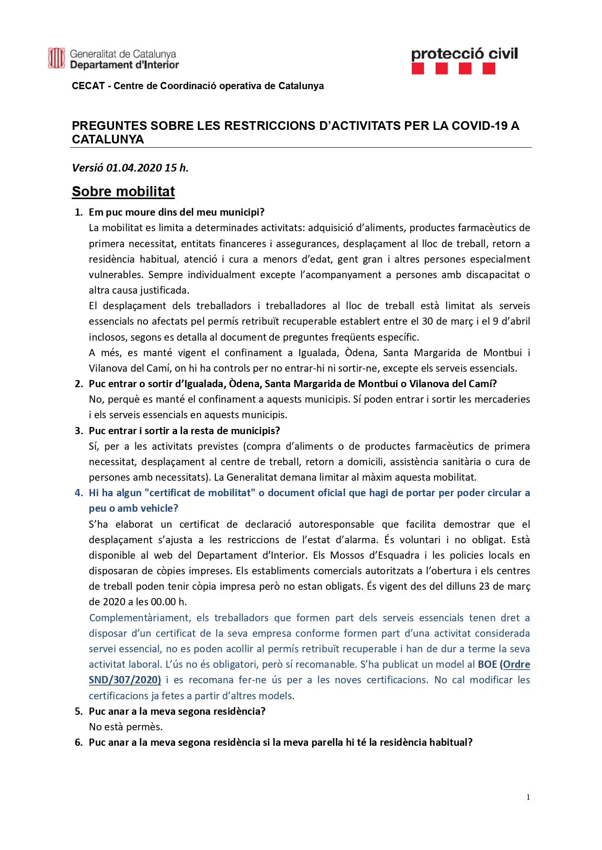 Preguntes freqüents sobre el coronavirus Covid-19. Què puc fer i què no? Versió 01-04-20   15h