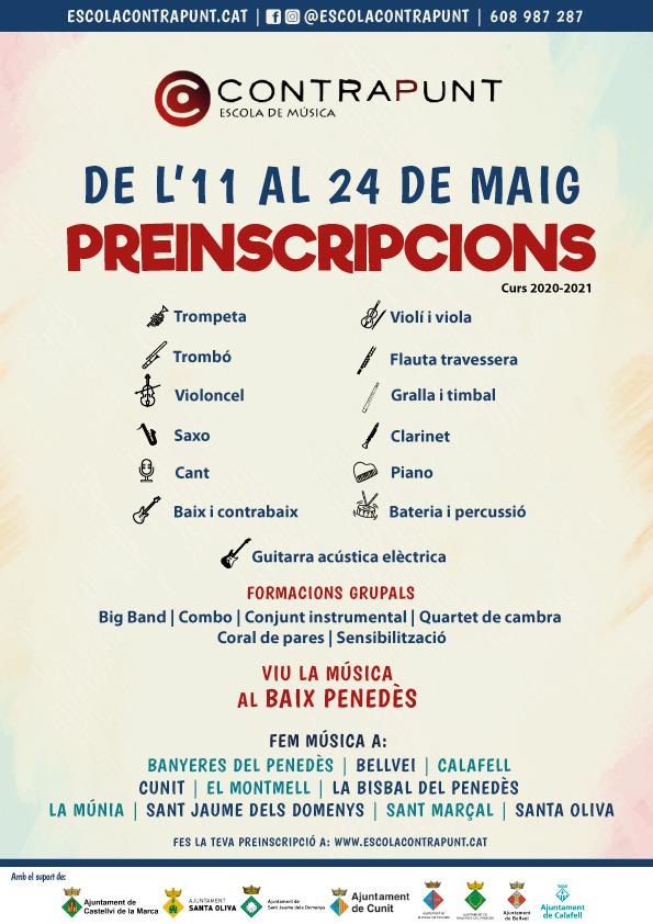 El dilluns 11 de maig s'obriran les preinscripcions per a l'Escola de Música Municipal