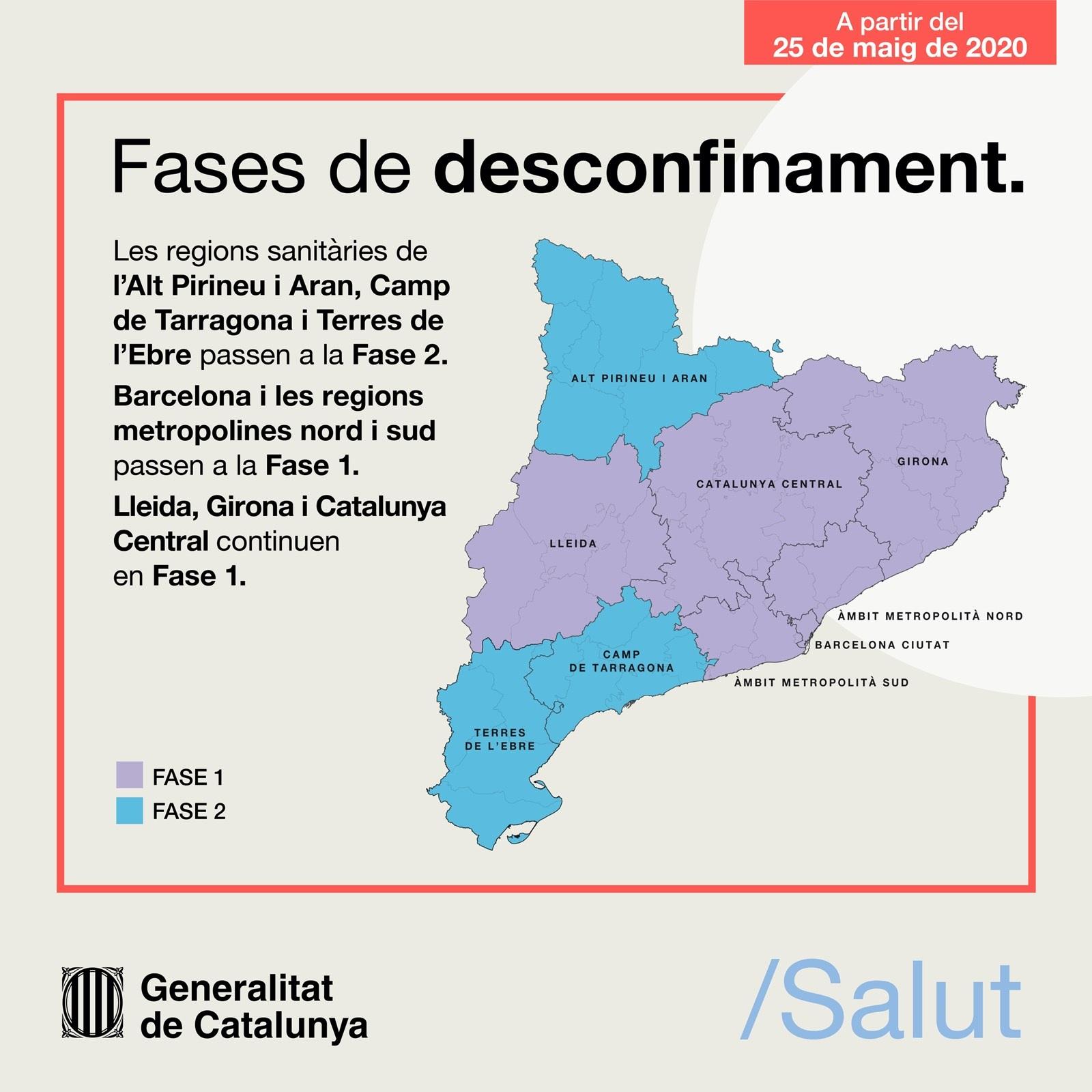 El dilluns 25 de maig la regió sanitària del Camp de Tarragona passa a la fase 2 del desconfinament